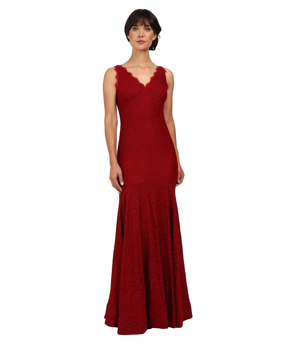 Adrianna Papell Sleeveless V-Neck Lace Trumpet Gown Crimson Dress