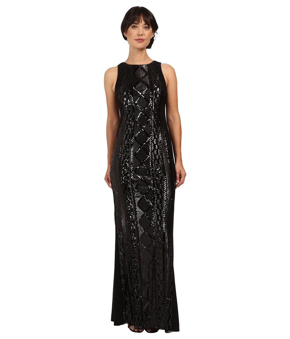 Adrianna Papell Sleeveless Cable Sequin Gown (Black) Women