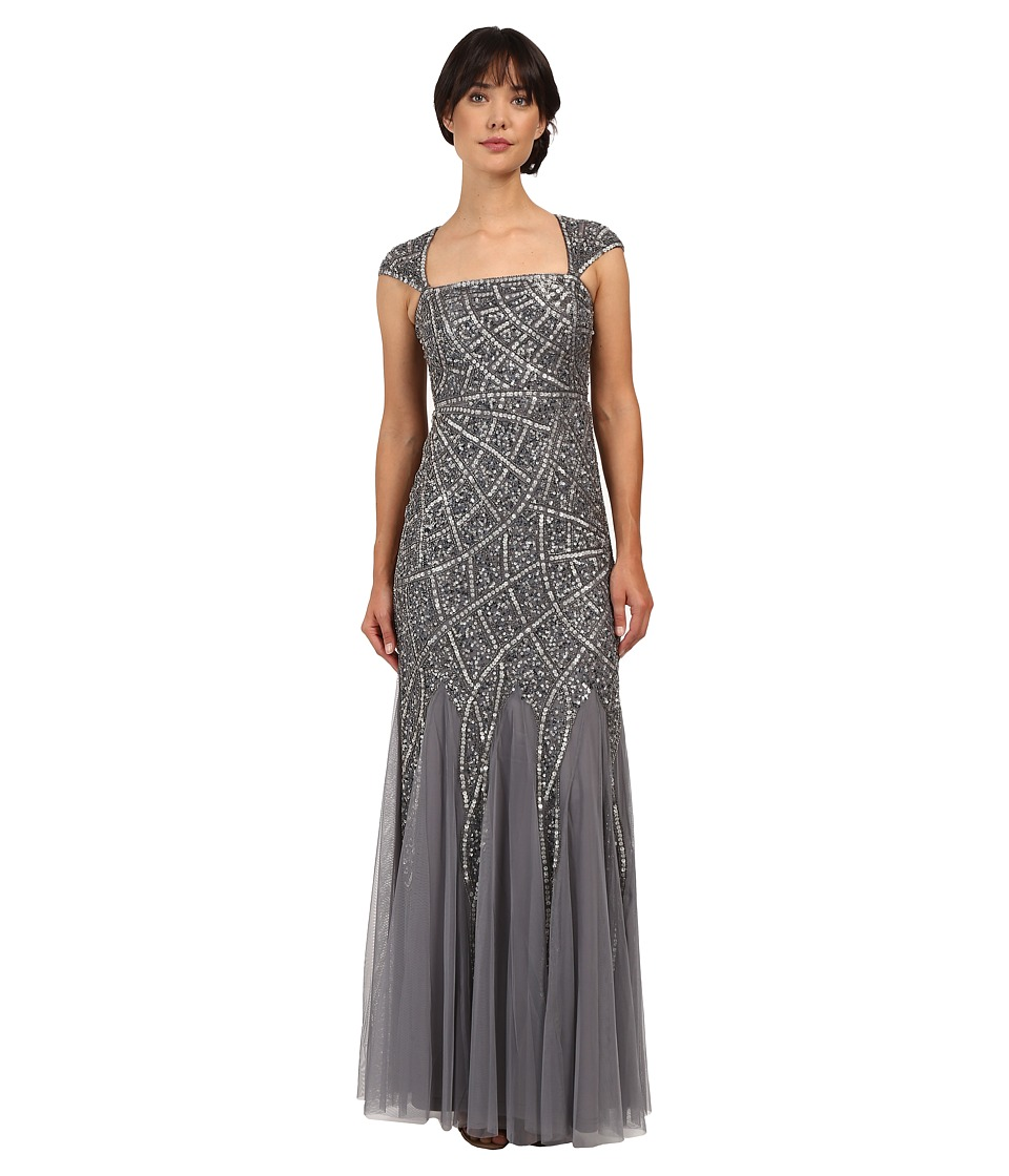 Adrianna Papell - Cap Sleeve Envelope Beaded Gown (Sterling) Women's Dress