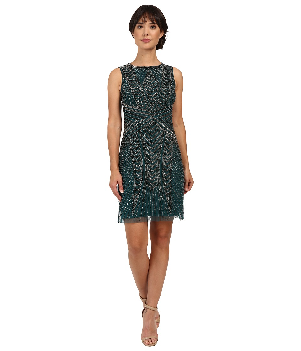 Adrianna Papell - Sleeveless Beaded Cocktail Dress (Hunter) Women's Dress