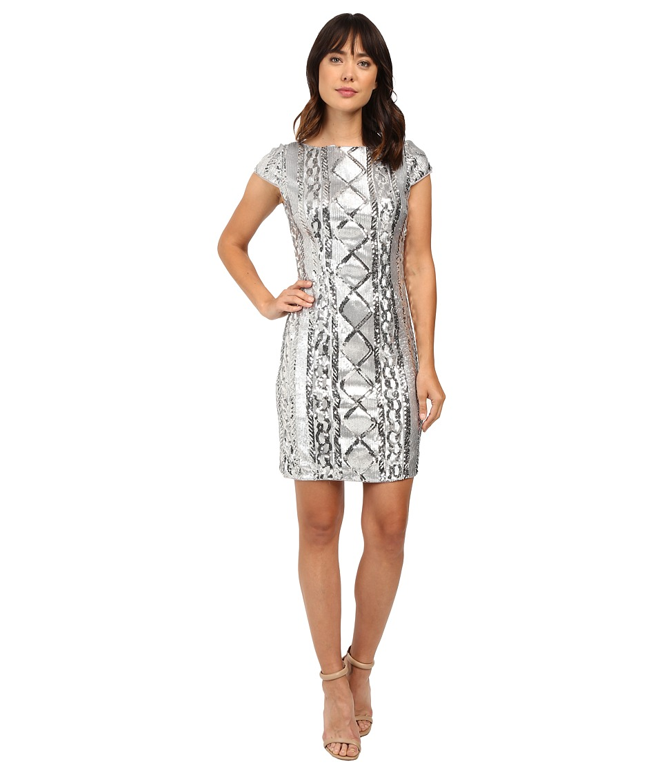 Adrianna Papell Cap Sleeve Cable Sequin Dress (Silver) Women