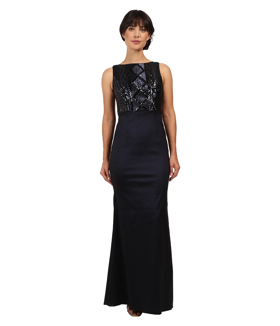 Adrianna Papell Cable Sequin and Stretch Taffeta Gown (Navy) Women