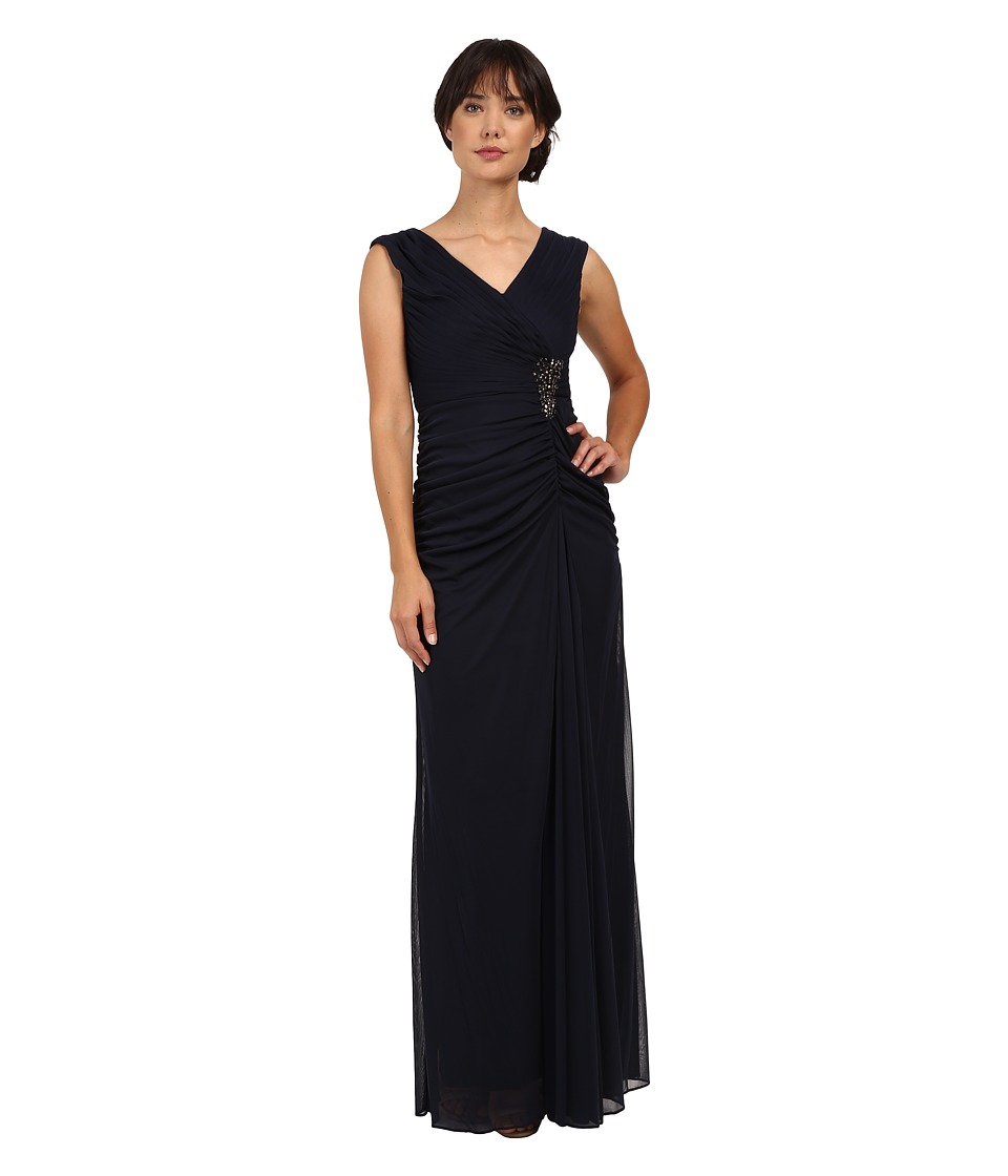 Adrianna Papell Cap Sleeve Shirred Gown with Bead (Ink) Women