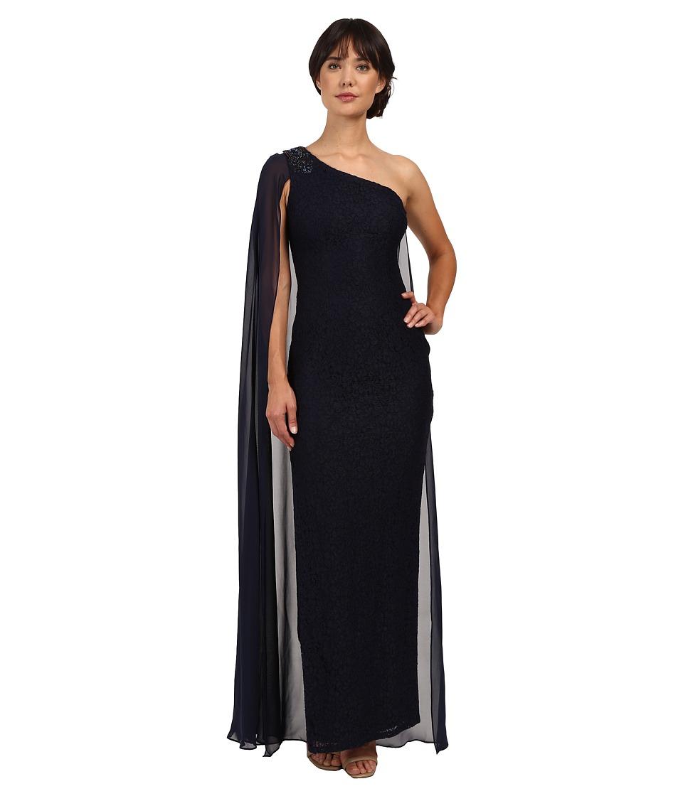 Adrianna Papell - Once Shoulder Chiffon Cape Lace Dress (Navy) Women's Dress