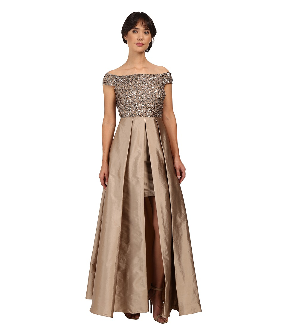 Adrianna Papell - Off Shoulder Over Skirt Gown (Antique Bronze) Women's Dress
