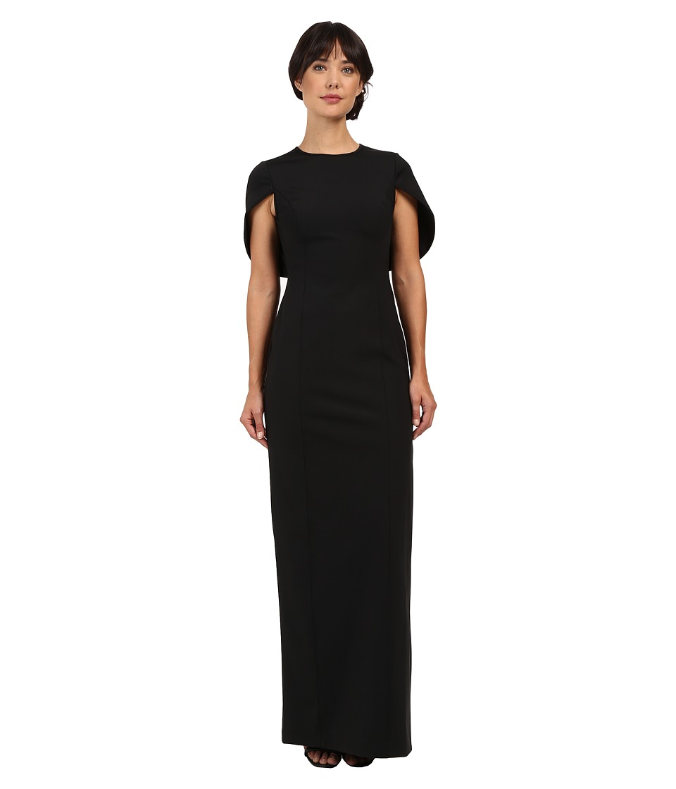 Adrianna Papell - Cape Scuba Column Gown (Black) Women's Dress