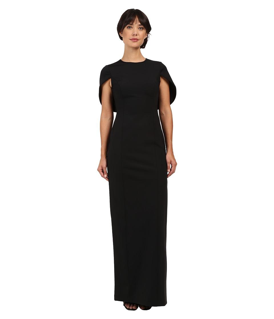 Adrianna Papell Cape Scuba Column Gown (Black) Women