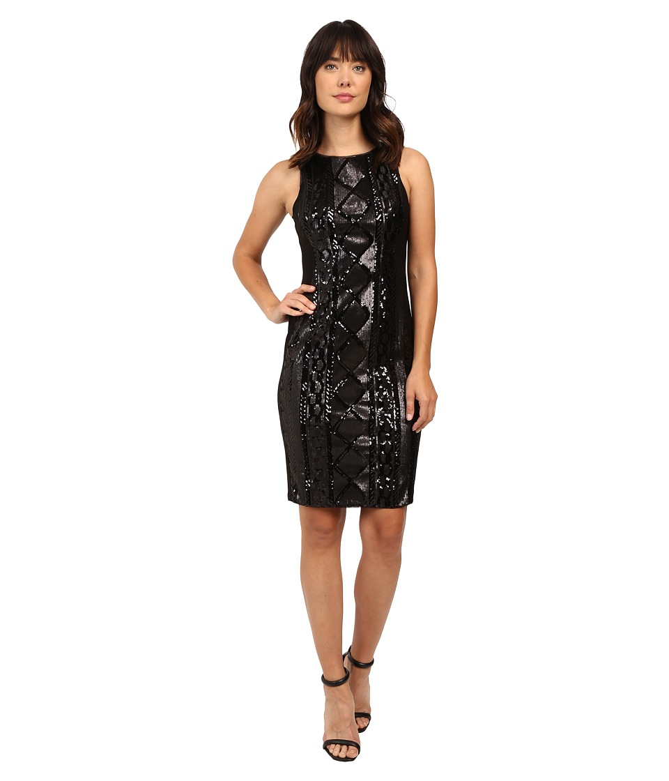 Adrianna Papell - Sleeveless Cable Sequin Dress (Black) Women's Dress