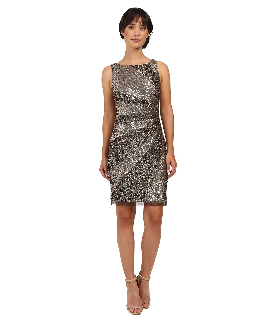 Adrianna Papell - Sleeveless Beaded Cocktail Dress (Bronze) Women's Dress