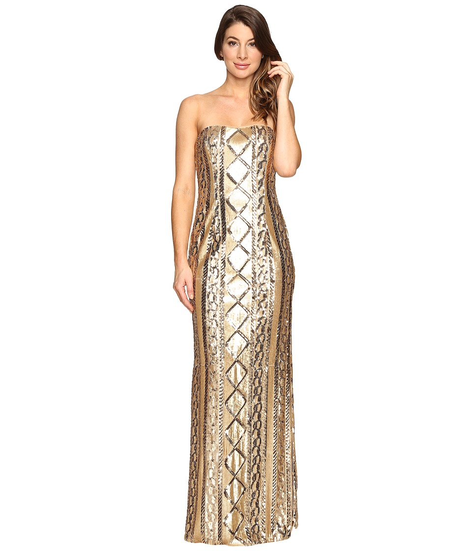 Adrianna Papell - Strapless Cable Sequin Gown (Gold) Women's Dress