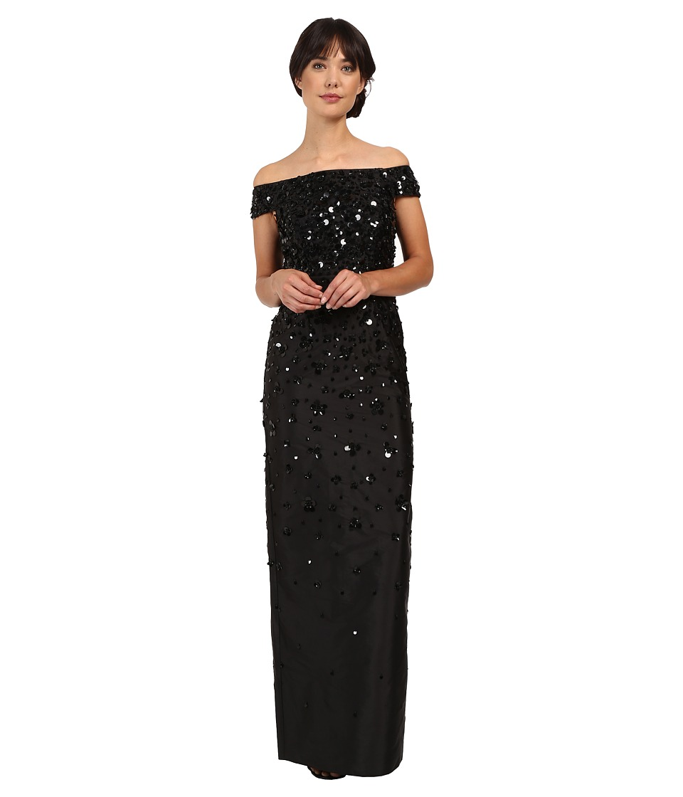 Adrianna Papell - Fully Beaded Off Shoulder Gown (Black) Women's Dress