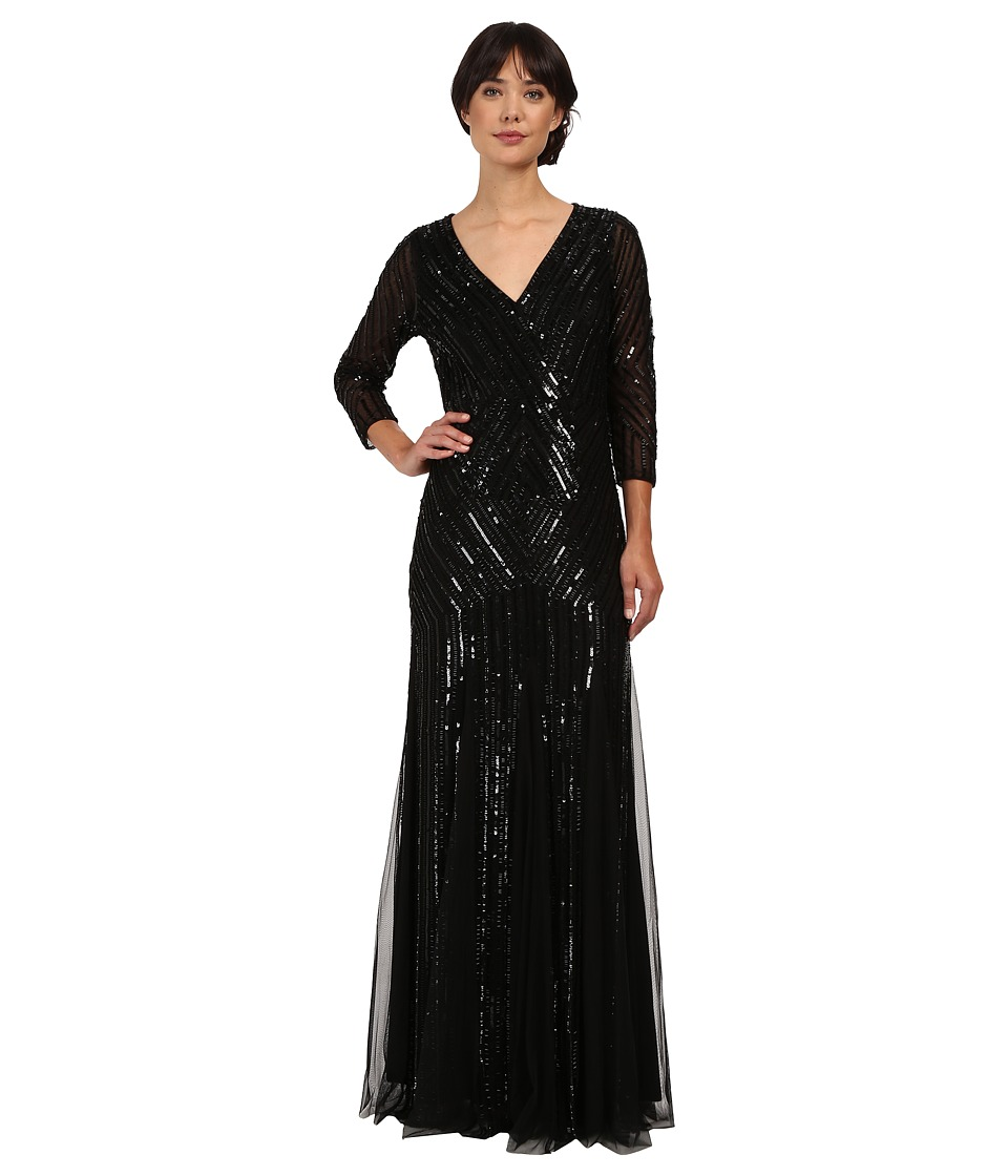 Adrianna Papell - 3/4 Sleeve Beaded Wrap Front Gown (Black) Women's Dress