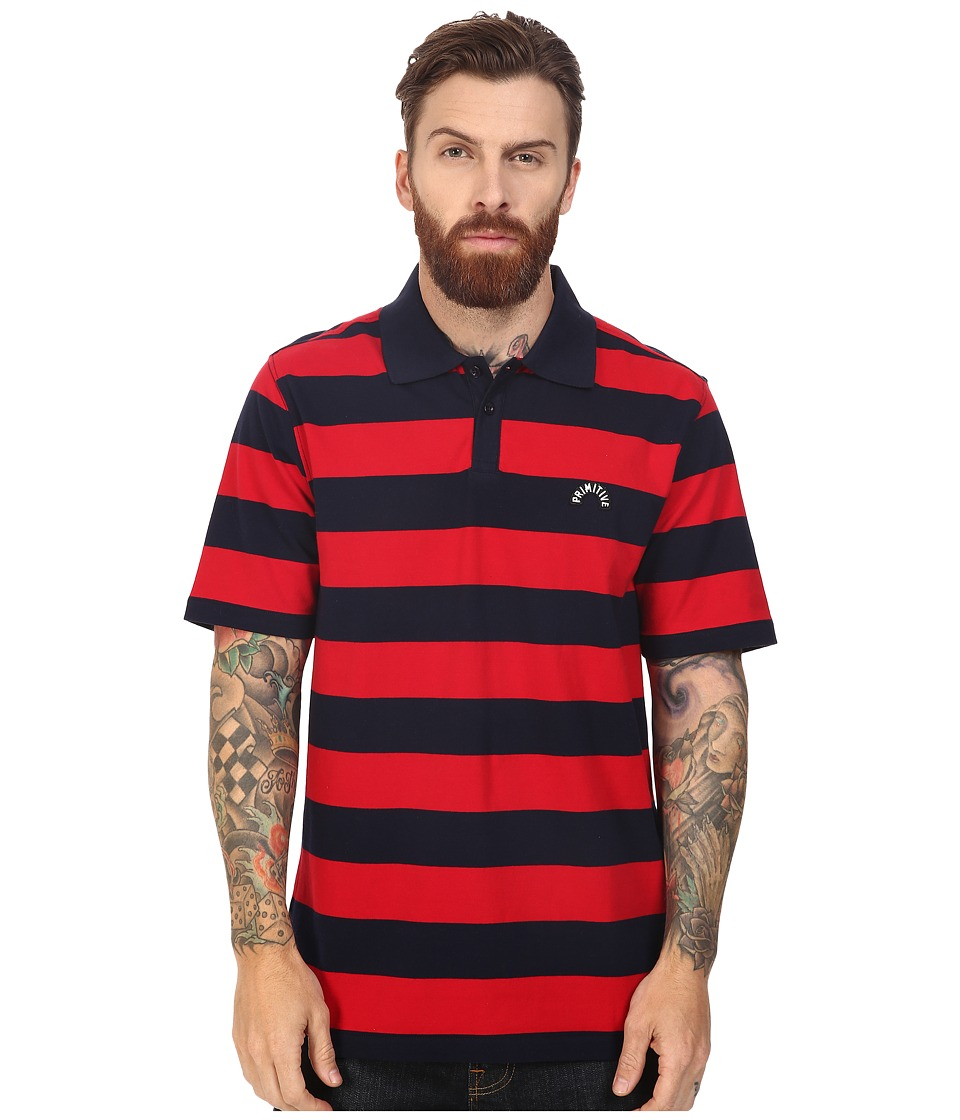 Primitive - Arch Stripe Polo Tee (Navy) Men's T Shirt