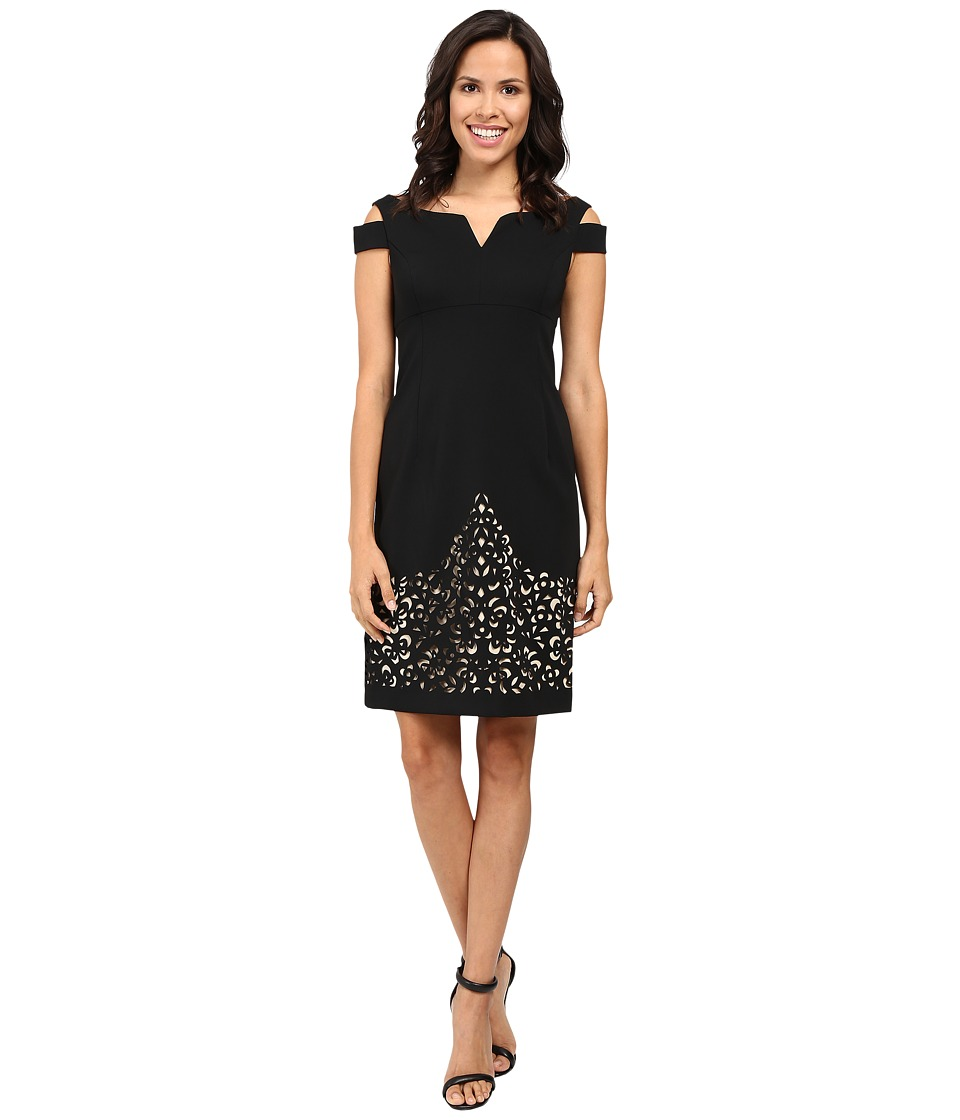 NUE by Shani Crepe Dress with Cold Shoulders and Laser Cutting Skirt (Black/Nude) Women