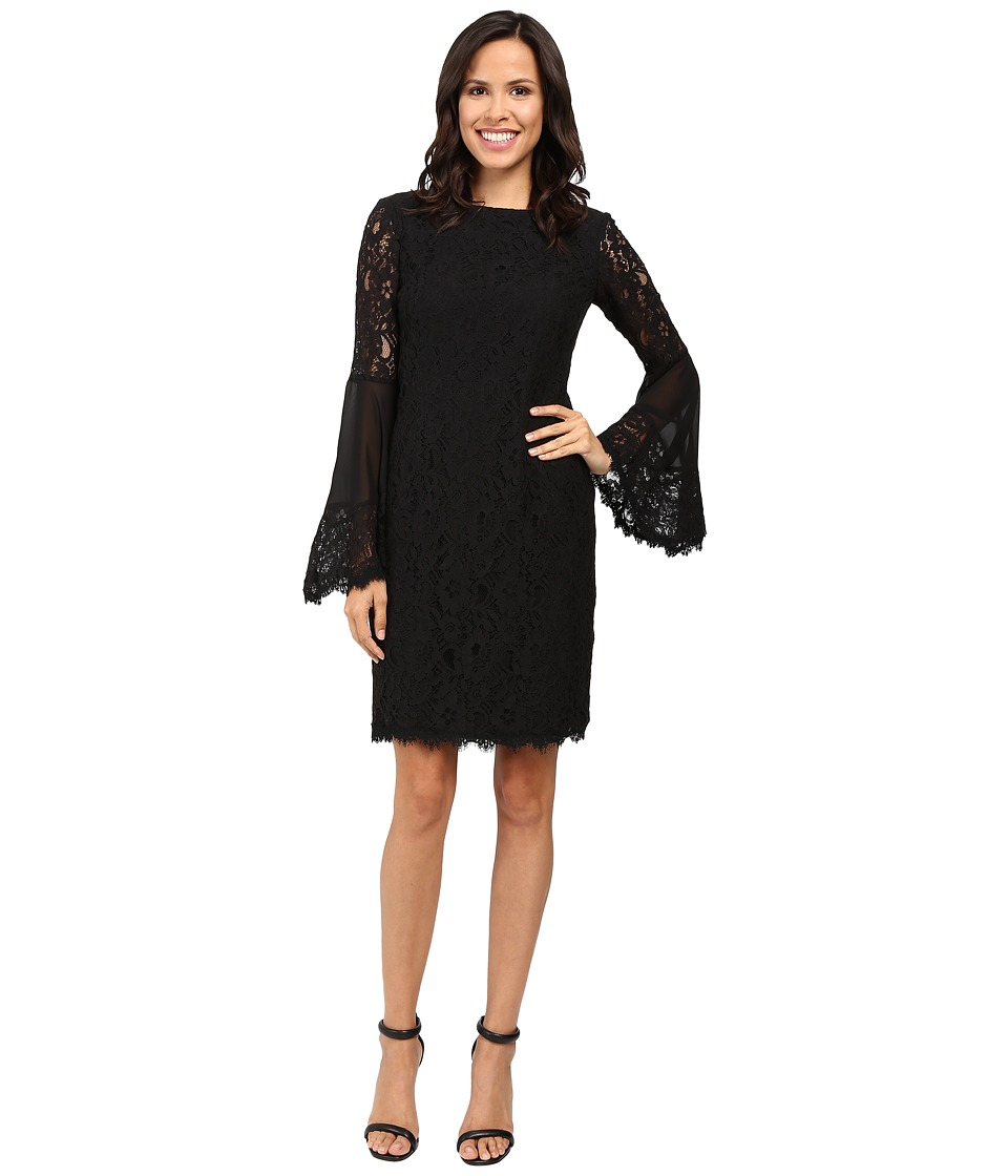 NUE by Shani Sheath Dress with Bell Sleeves (Black) Women