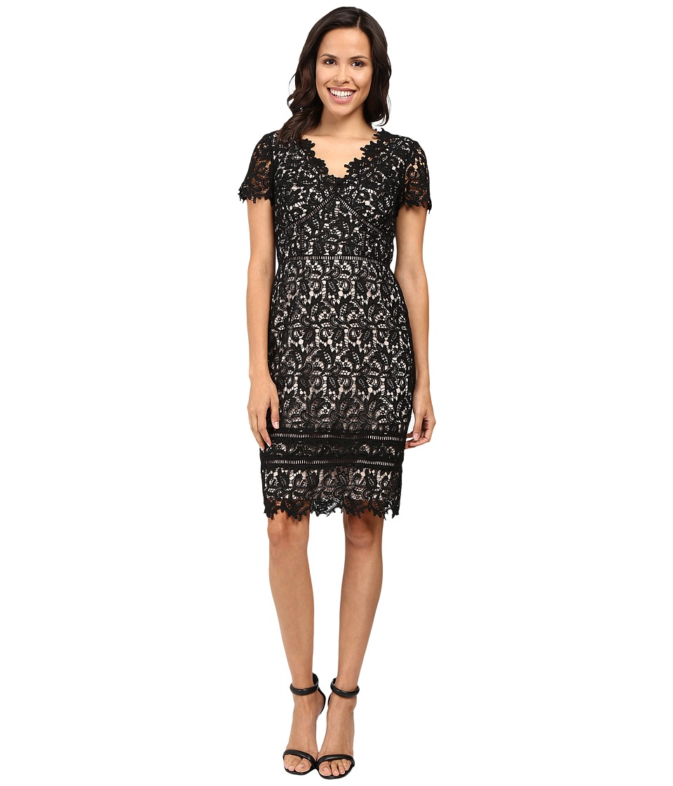 NUE by Shani - Lace Dress with Trim Detail (Black/Nude) Women's Dress