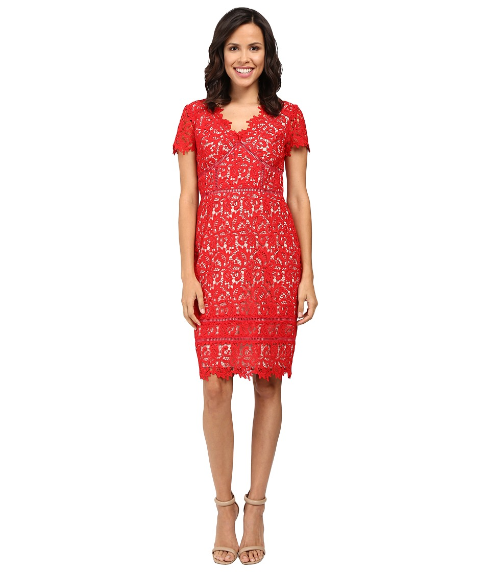 NUE by Shani - Lace Dress with Trim Detail (Red/Nude) Women's Dress