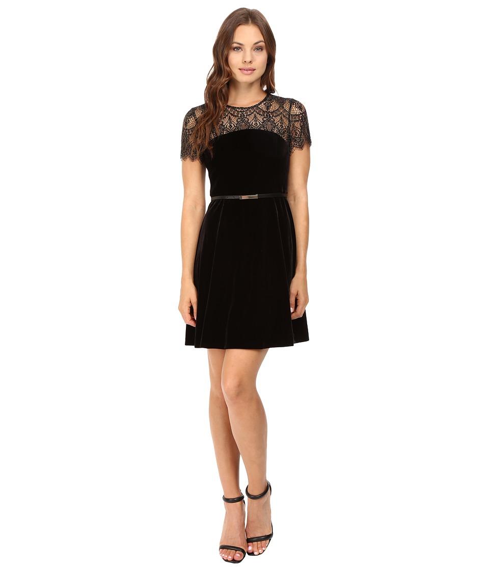 Jessica Simpson Lace and Velvet Combo Dress (Black) Women