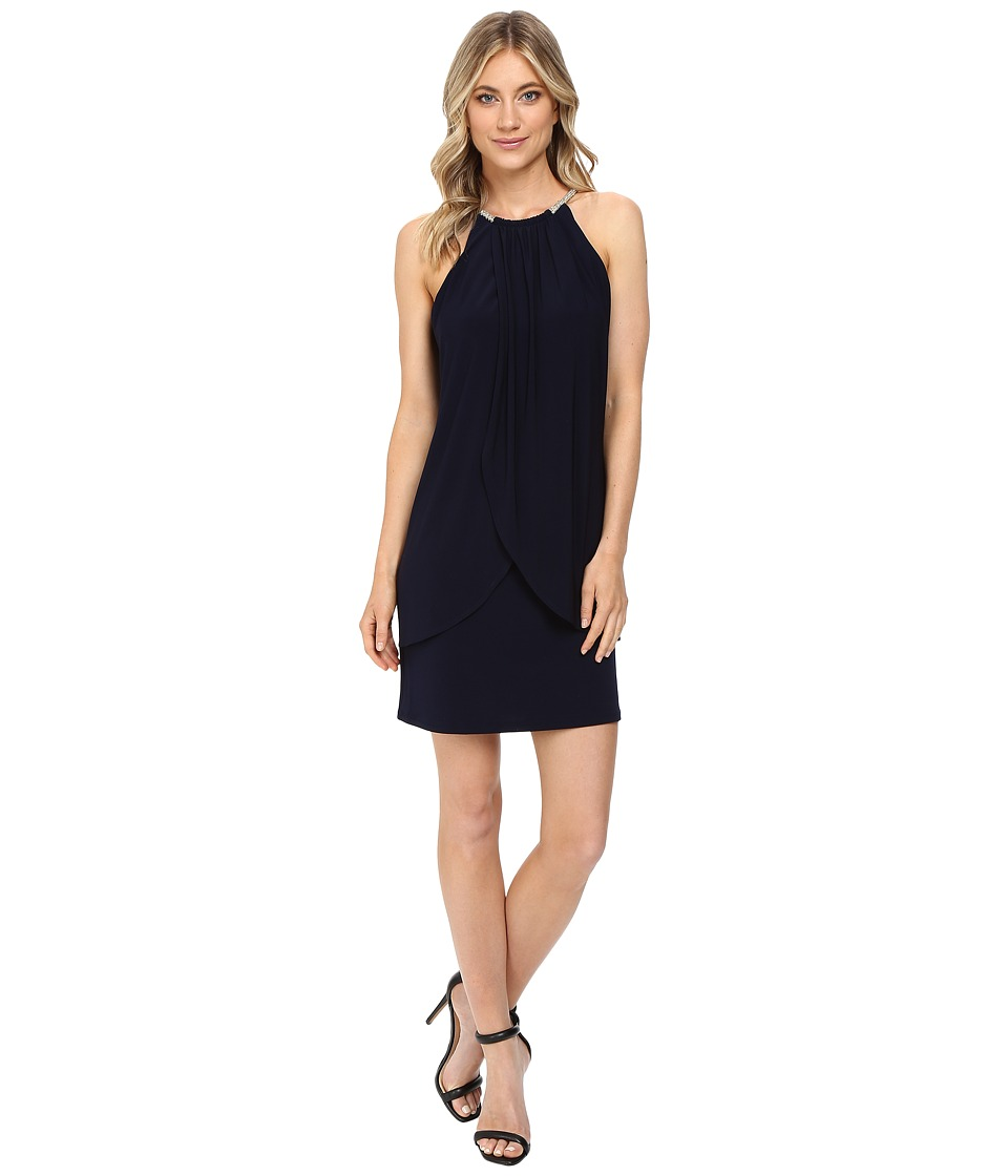 Jessica Simpson Ity Dress with Embellished Halter Necklace (Sapphire) Women