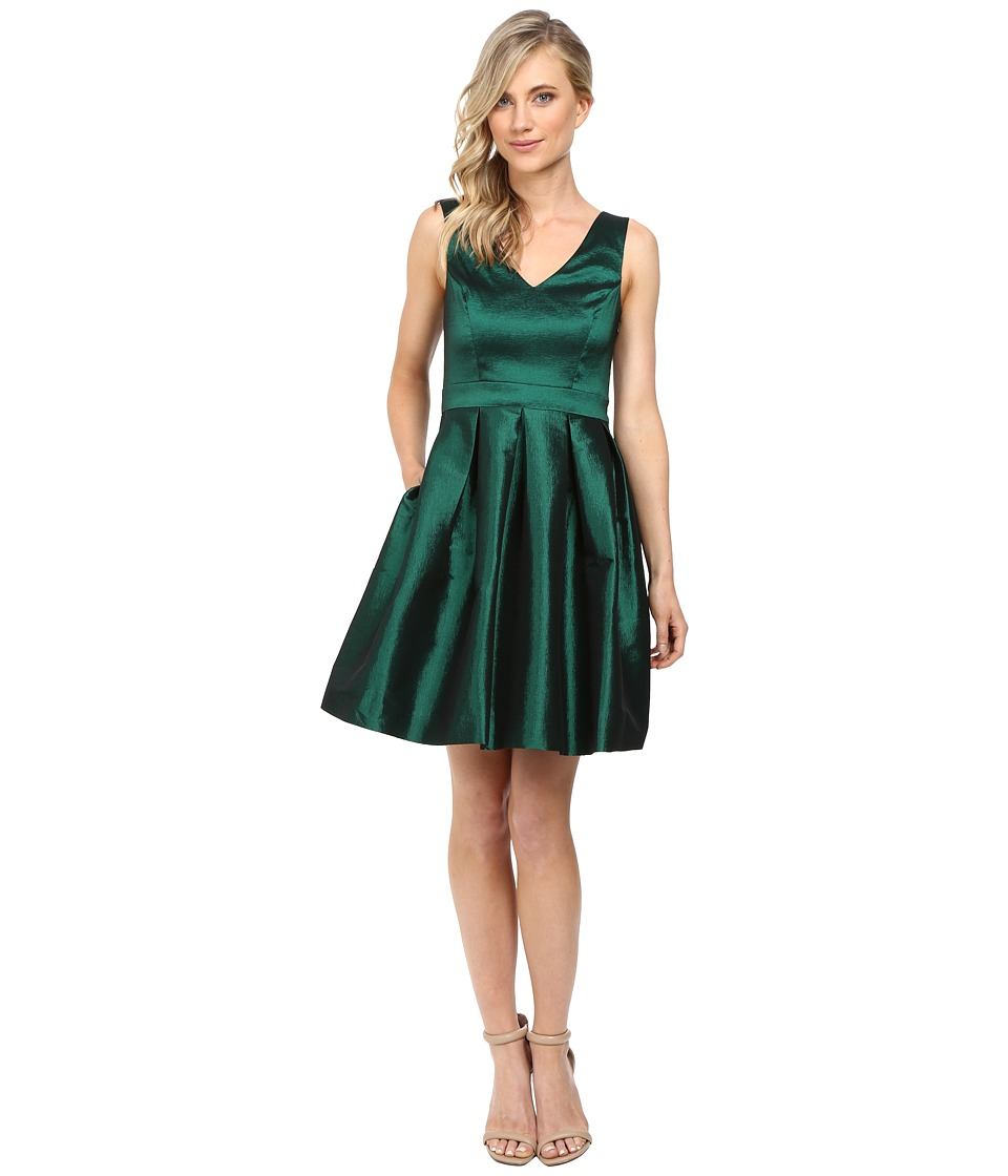 Jessica Simpson - Taffeta Fit Flare Dress (Emerald) Women's Dress