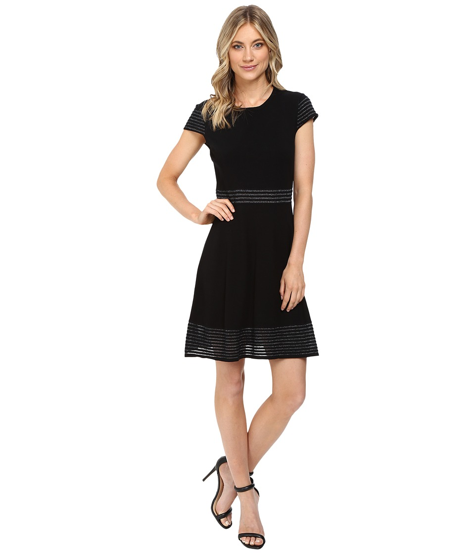 Jessica Simpson - Sweater Knit Fit and Flair Dress (Black) Women's Dress