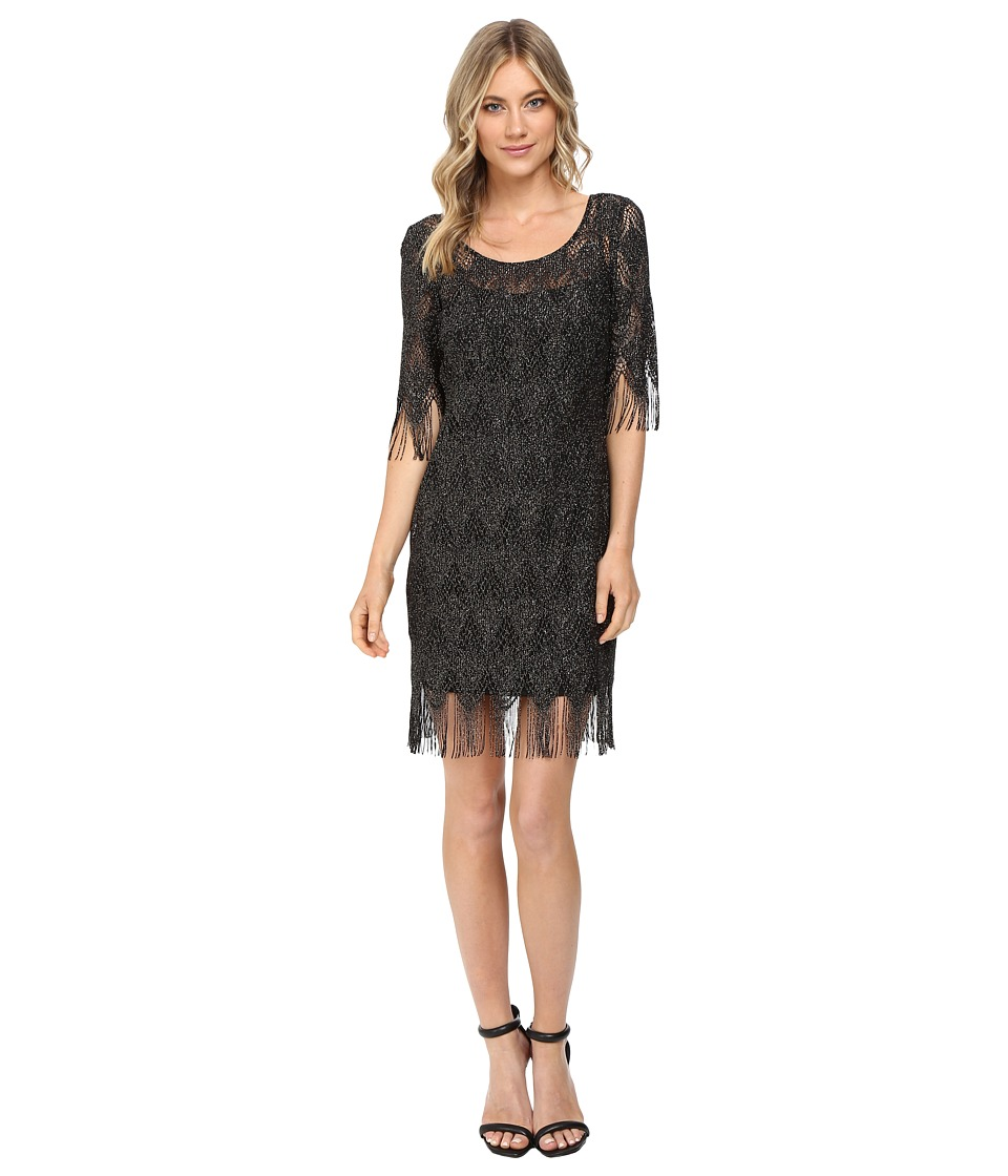 Jessica Simpson - Metallic Frindge Dress (Black) Women's Dress