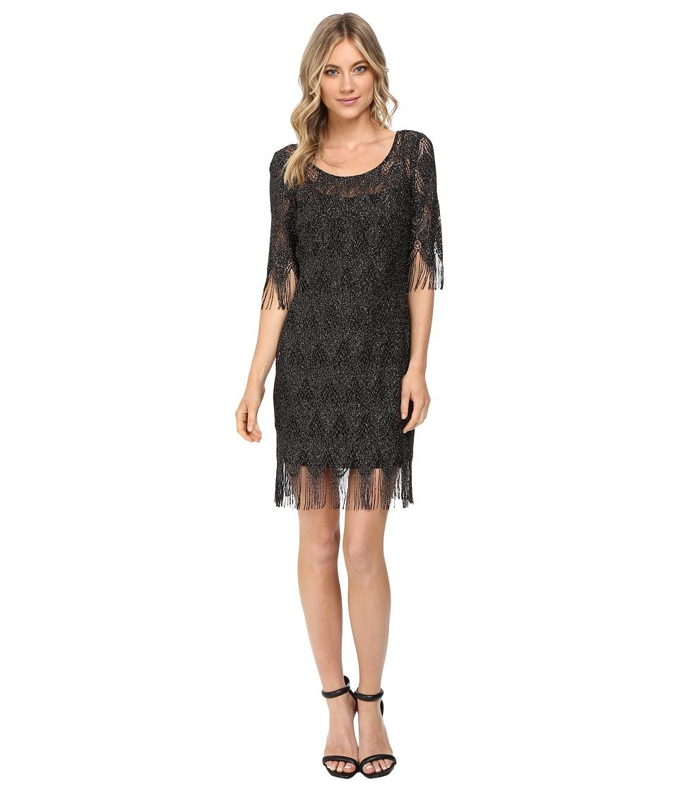 Jessica Simpson Metallic Frindge Dress (Black) Women