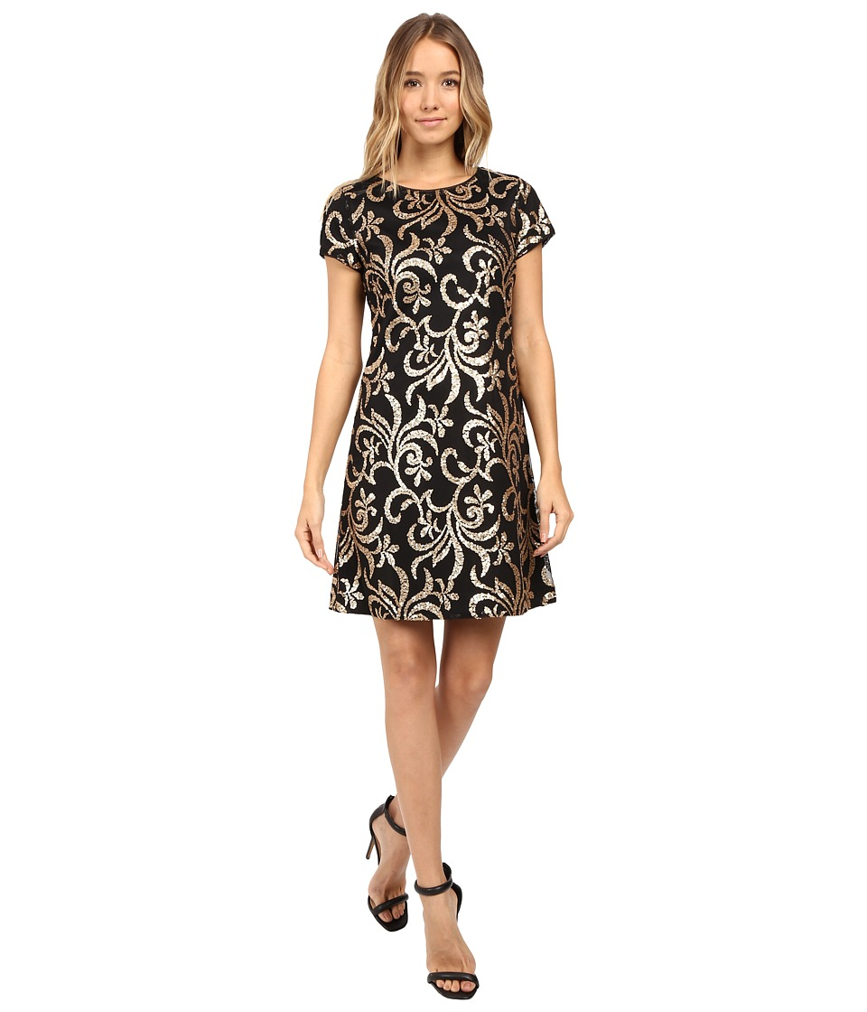 Jessica Simpson - Scroll Embellished Sequin Dress (Black/Gold) Women's Dress