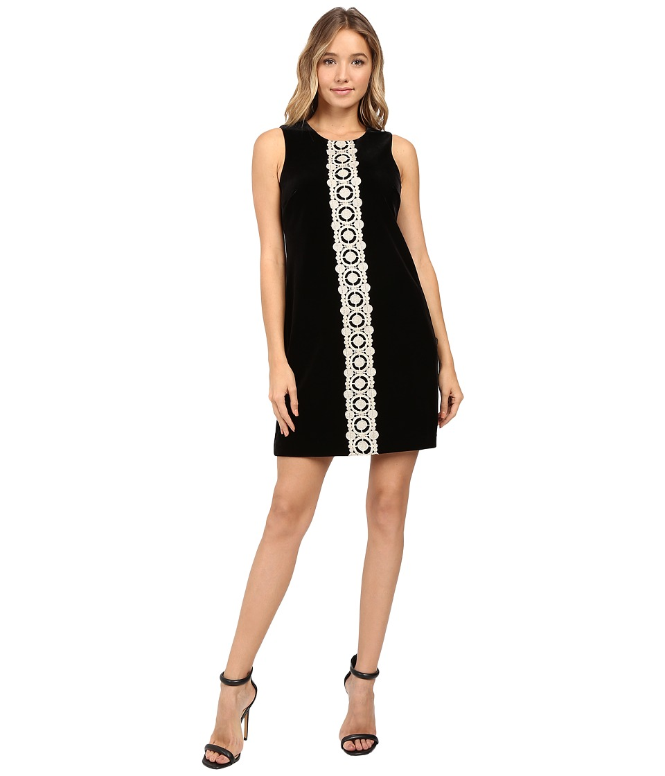 Jessica Simpson Solid Velvet Dress with Metallic Lace Trim (Black) Women