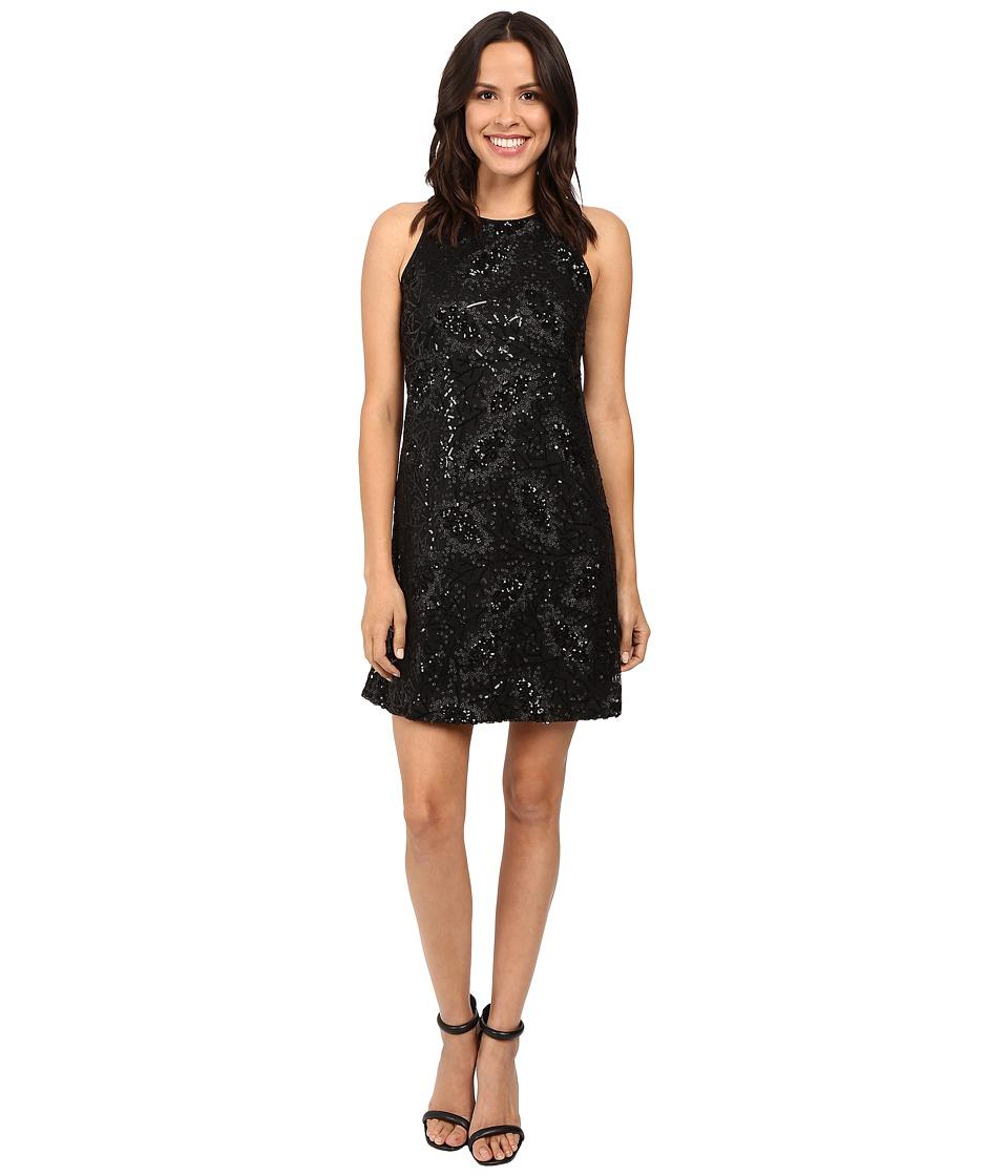 Jessica Simpson Floral Sequin Dress (Black) Women