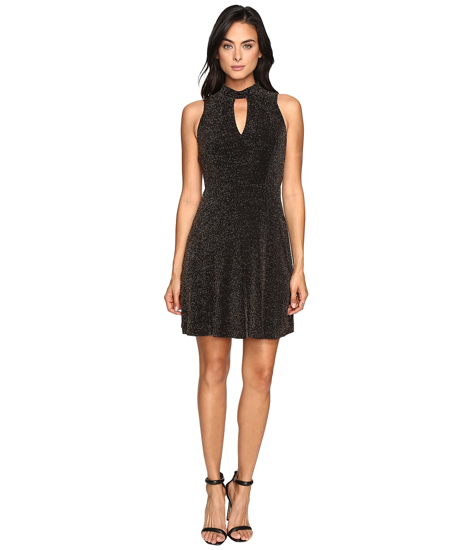 Jessica Simpson Lurex Gliter Dress with Mock Neck (Black/Gold) Women