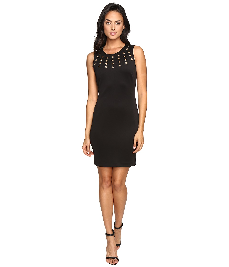 Jessica Simpson - Solid Scuba with Gold Grommets (Black) Women's Dress