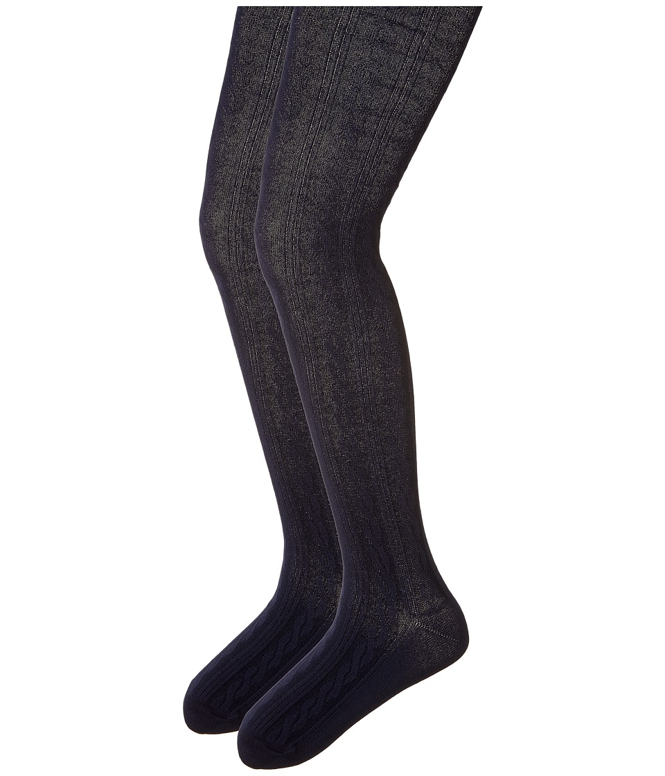 Jefferies Socks - Cable Tights 2-Pack (Toddler/Little Kid/Big Kid) (Navy/Navy) Hose