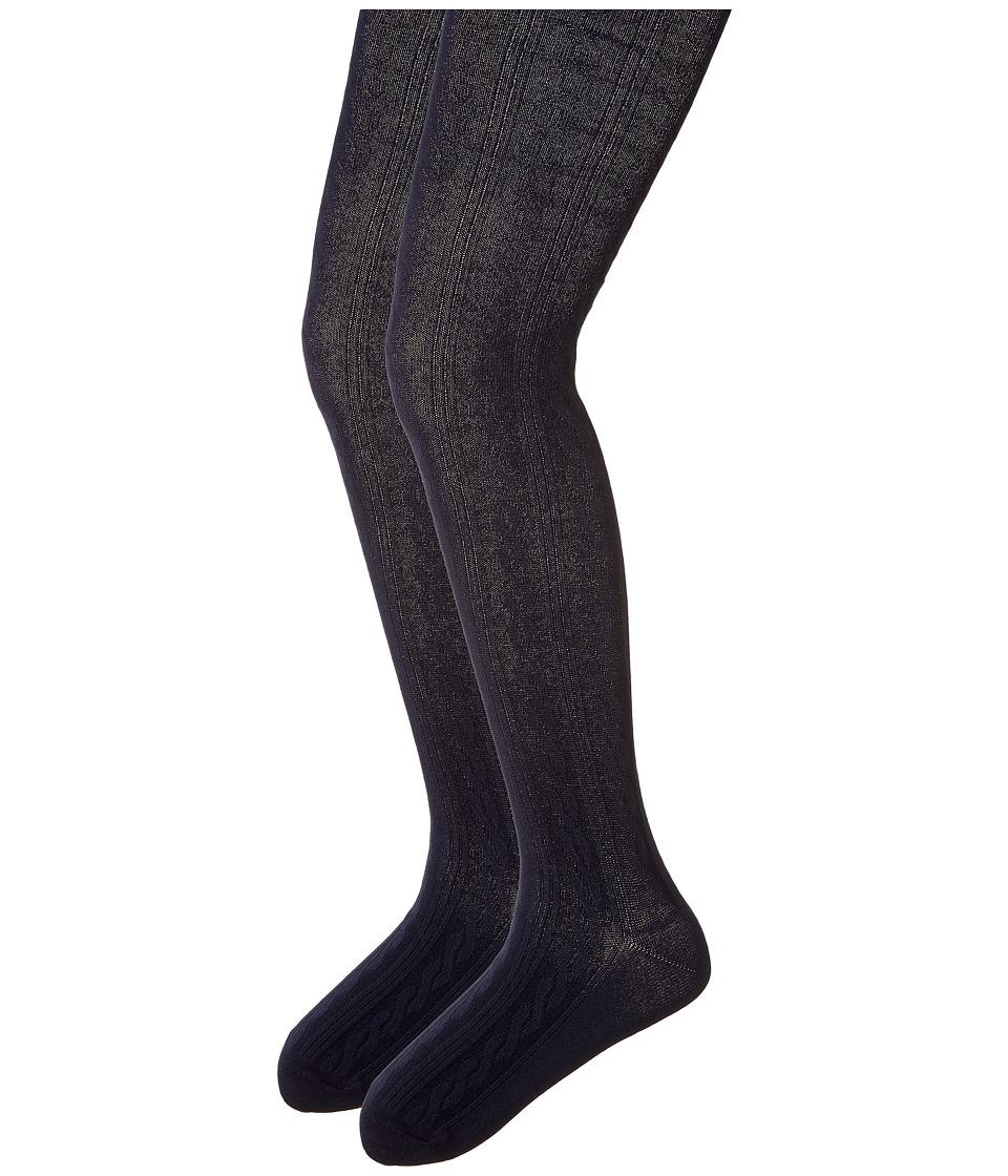 Jefferies Socks - Cable Tights 2-Pack (Toddler/Little Kid/Big Kid) (Navy/Navy) Hose