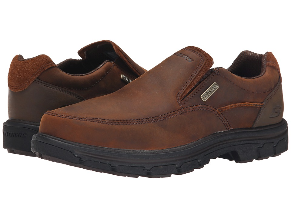 SKECHERS - Relaxed Fit Segment - Manlon (Dark Brown Leather) Men's Shoes