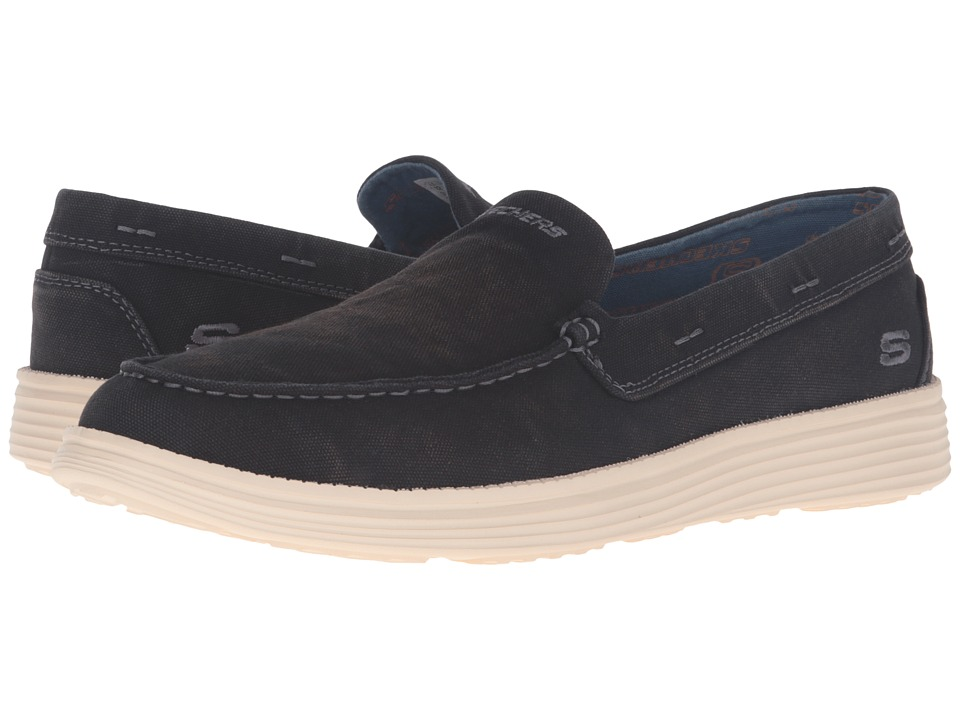 SKECHERS - Relaxed Fit Status - Ramino (Black Canvas) Men's Slip on Shoes