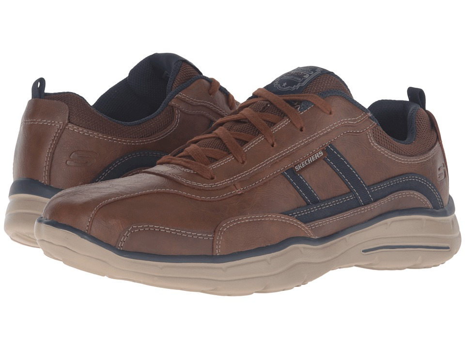 SKECHERS - Relaxed Fit Glides - Corsen (Coffee Leather) Men's Shoes