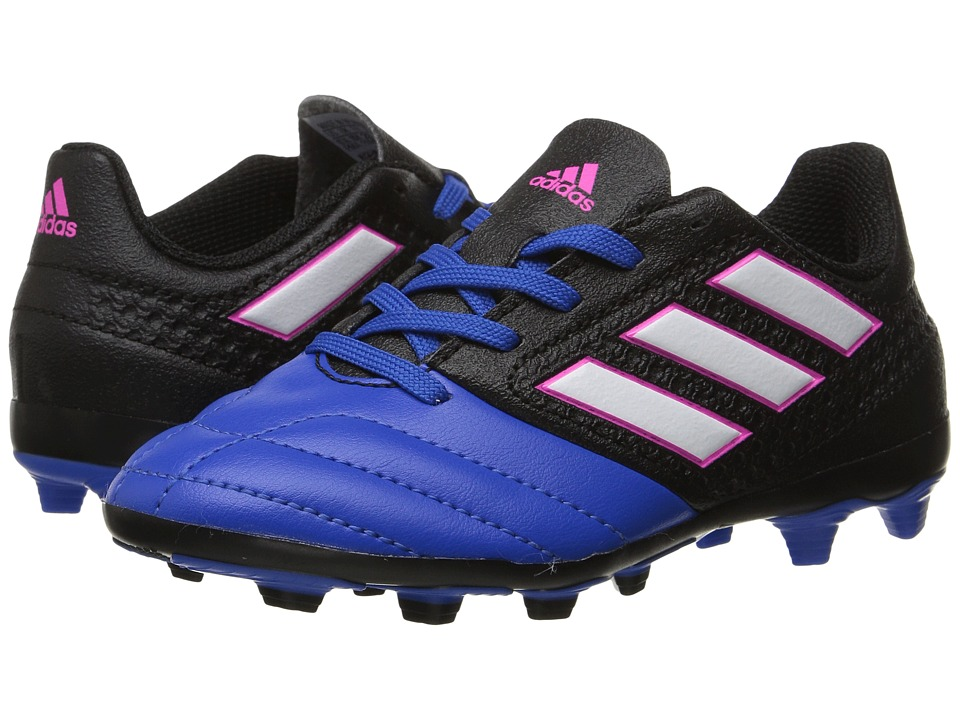 adidas Kids - Ace 17.4 FxG Soccer (Little Kid/Big Kid) (Core Black/Footwear White/Blue) Kids Shoes