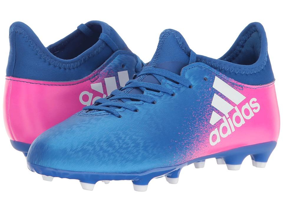 adidas Kids - X 16.3 FG Soccer (Little Kid/Big Kid) (Blue/Footwear White/Shock Pink) Kids Shoes