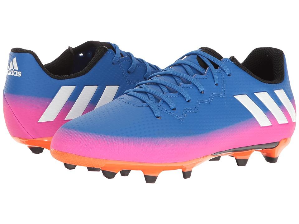 adidas Kids Messi 16.3 FG Soccer (Little Kid/Bid Kid) (Blue/Footwear White/Solar Orange) Kids Shoes