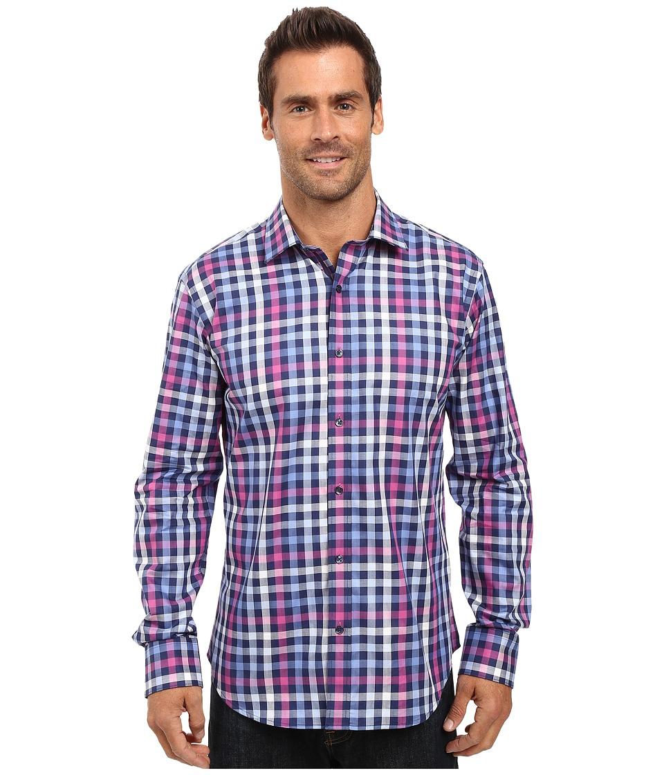BUGATCHI - Mario Long Sleeve Woven Shirt (Navy) Men's Long Sleeve Button Up