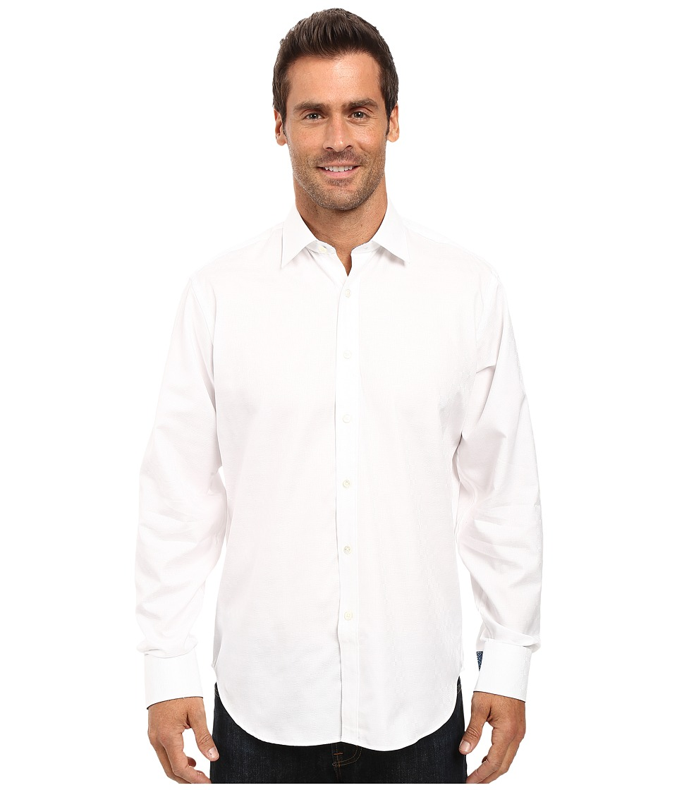 BUGATCHI - Alberto - Tonal Check Long Sleeve Woven Shir (White) Men's Long Sleeve Button Up