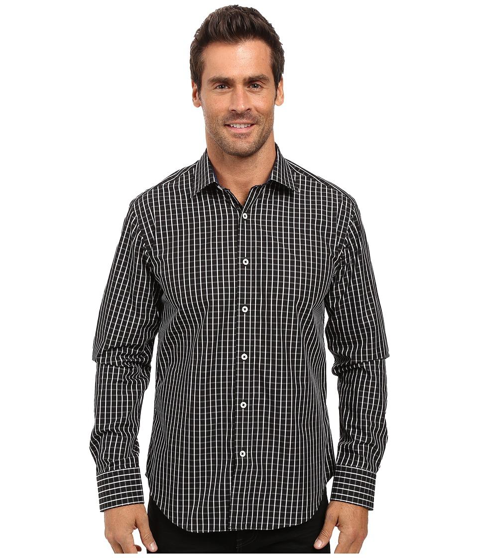 BUGATCHI - Ciro Long Sleeve Woven Shirt (Black) Men's Long Sleeve Button Up