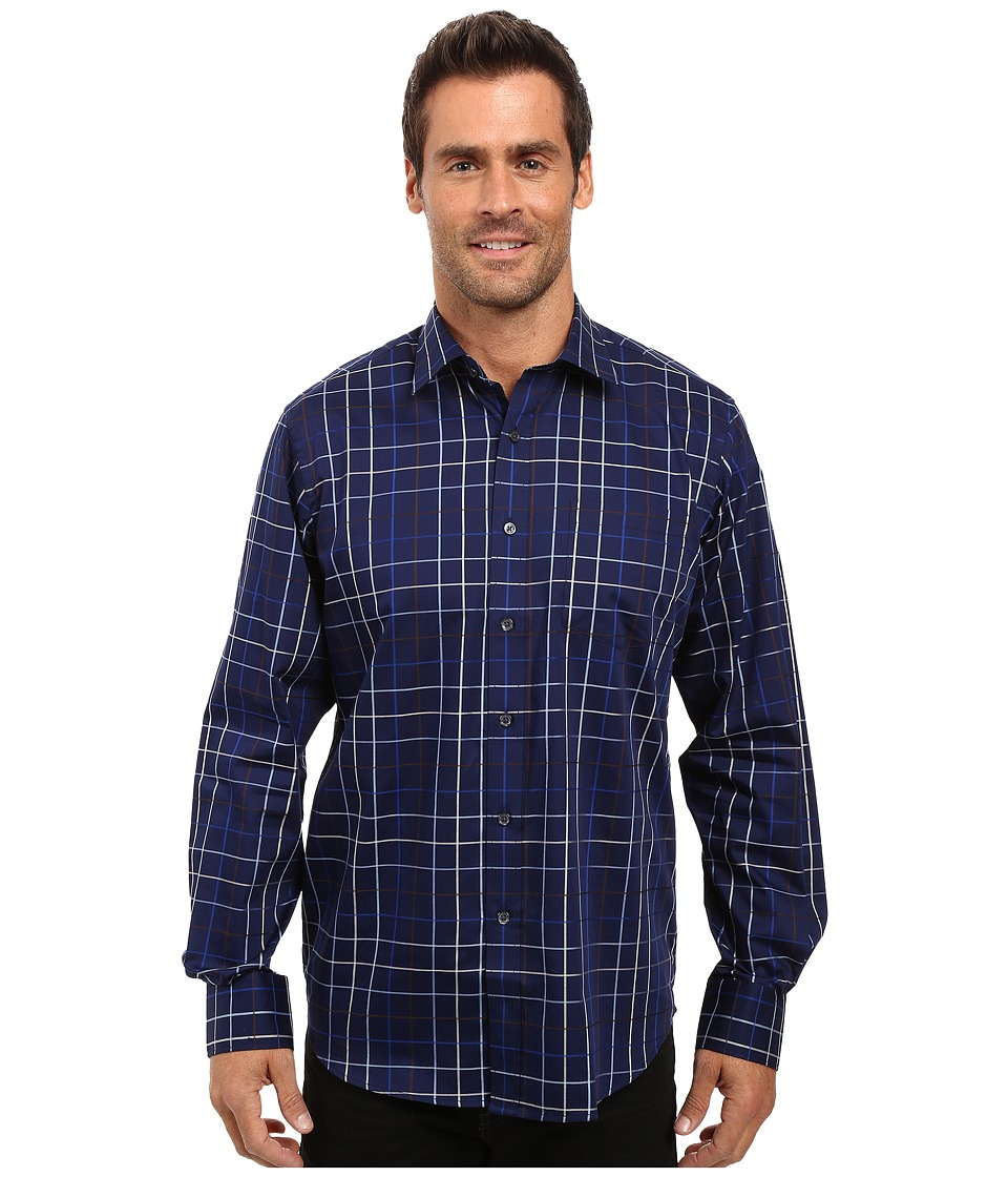 BUGATCHI - Alessio Long Sleeve Woven Shirt (Navy) Men's Long Sleeve Button Up