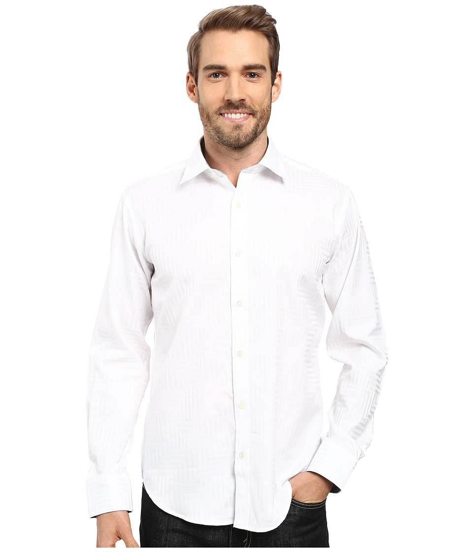BUGATCHI - Barolo Long Sleeve Woven Shirt (White) Men's Long Sleeve Button Up