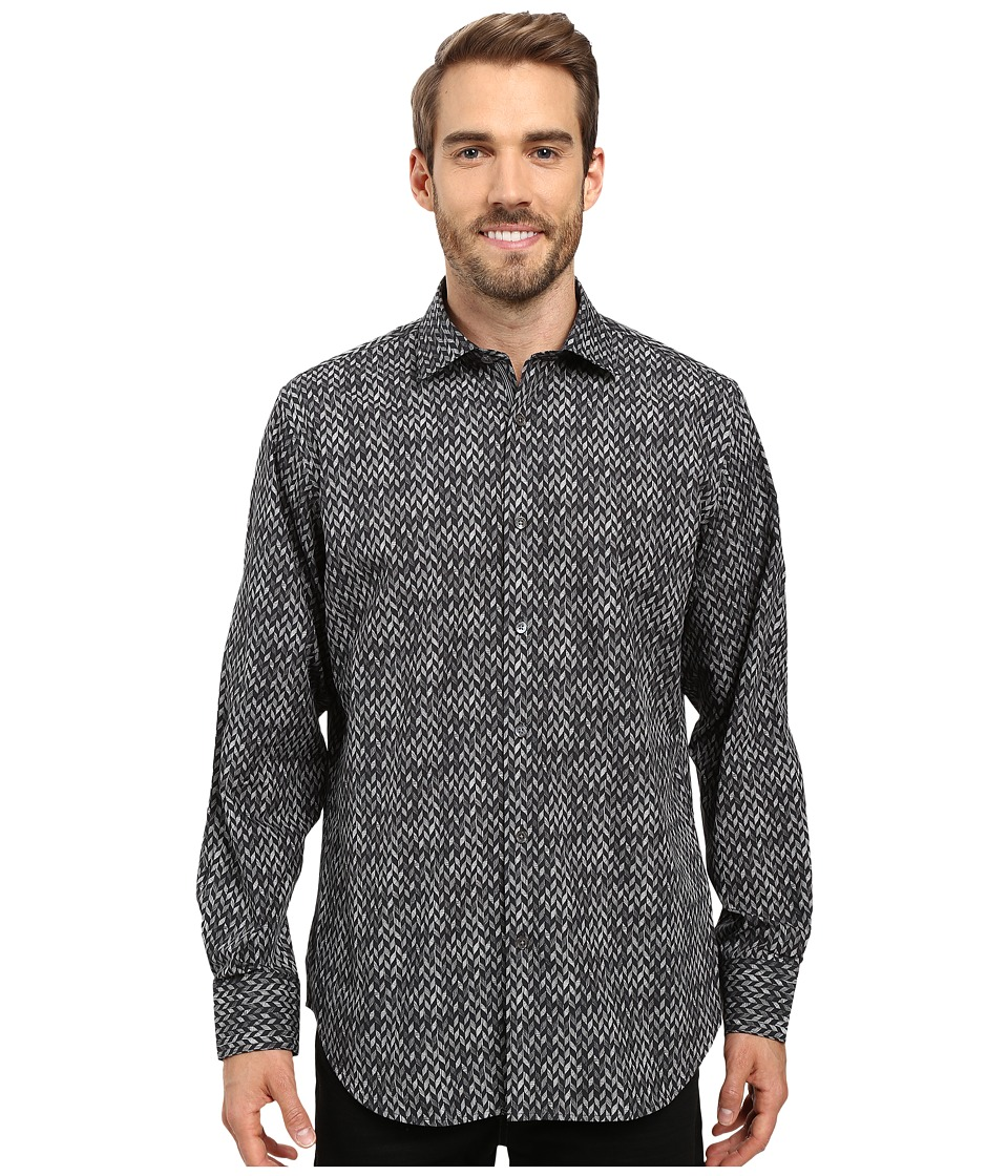 BUGATCHI - Brizio Long Sleeve Woven Shirt (Black) Men's Long Sleeve Button Up
