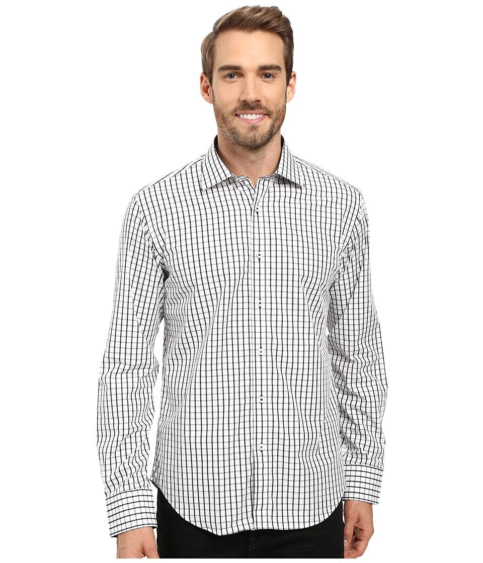 BUGATCHI - Bernado Long Sleeve Woven Shirt (Black) Men's Long Sleeve Button Up