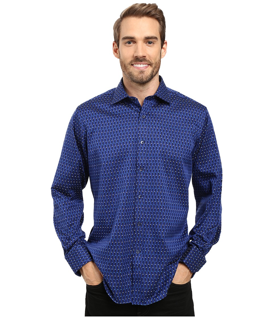 BUGATCHI - Carlo Long Sleeve Woven Shirt (Night Blue) Men's Long Sleeve Button Up