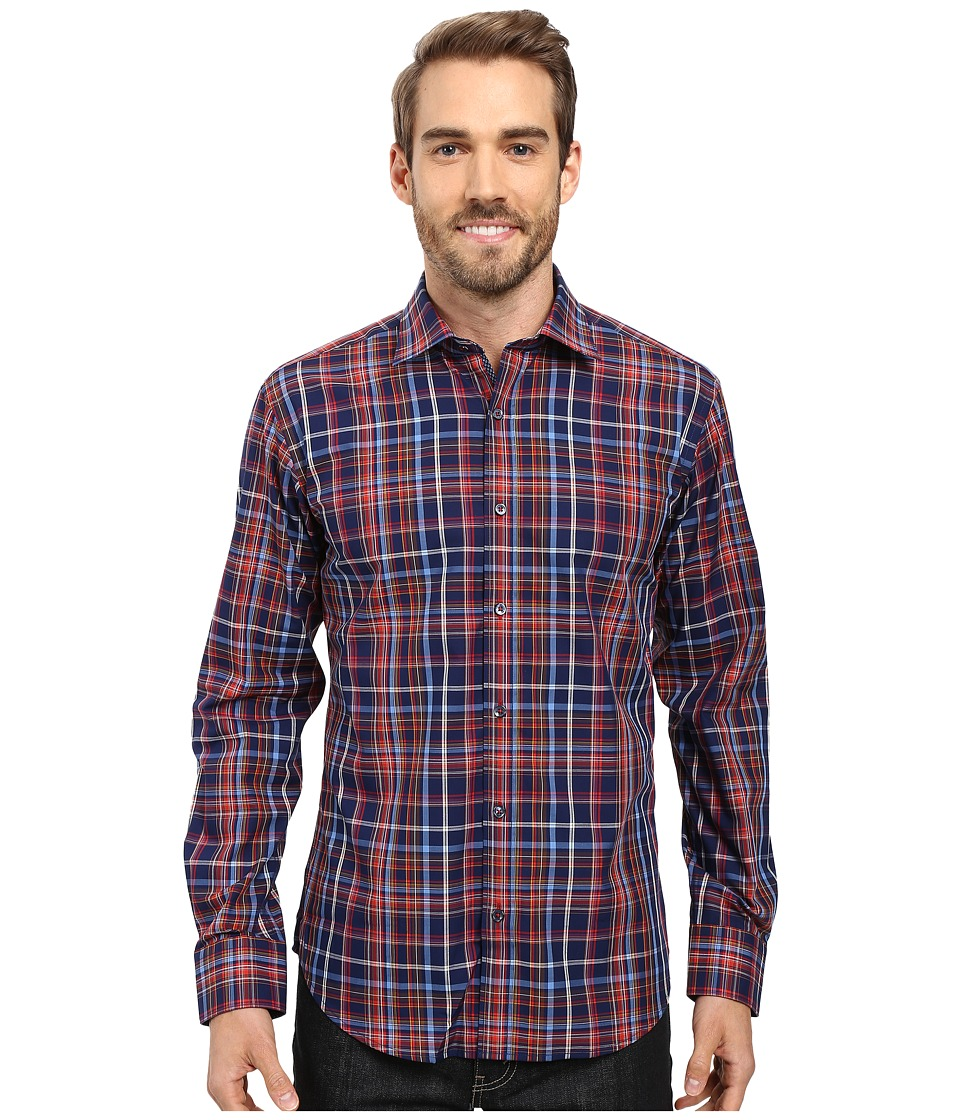 BUGATCHI - Benito Long Sleeve Woven Shirt (Navy) Men's Long Sleeve Button Up