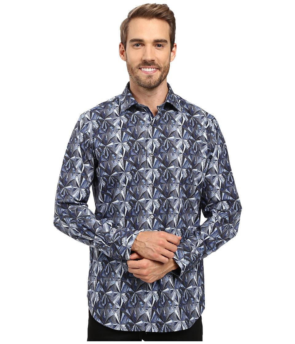 BUGATCHI - Luca Long Sleeve Woven Shirt (Graphite) Men's Long Sleeve Button Up